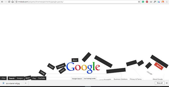 google gravity- google easter eggs